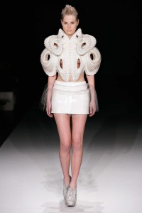 "Iris van Herpen ""Crystallization"" July 2010 3D Printed top, leather skirt"