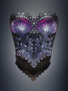 """Stained Glass"" 3D printed corset by Michaella Janse van Vuuren"